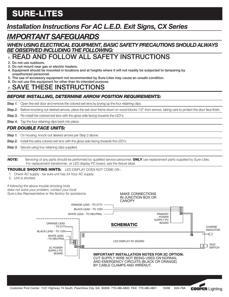 SURELITES IMPORTANT SAFEGUARDS Installation Instructions For AC – Exit Sign Wiring-diagram 277v