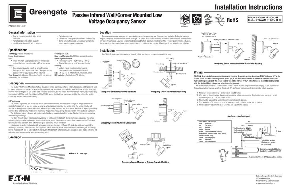 Low Voltage Occupancy Sensor Wiring Diagram