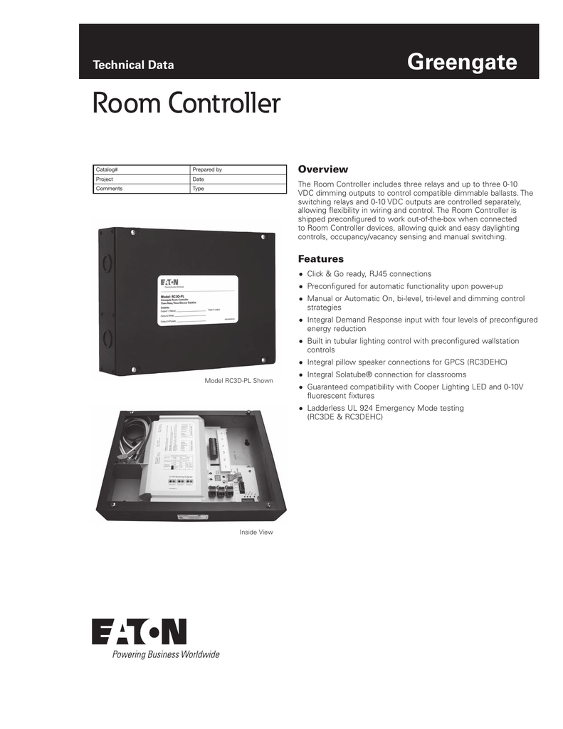 Room Controller Greengate Technical Data Overview Led Light Emergency Lighting Wiring Diagram Together With Rj45 Socket