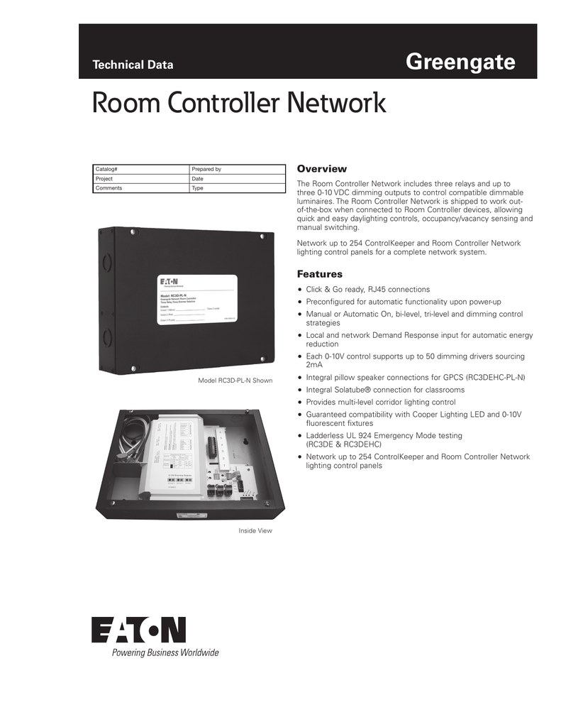 Room Controller Network Greengate Technical Data Overview