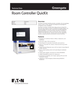 Room Controller QuicKit Greengate Technical Data Overview