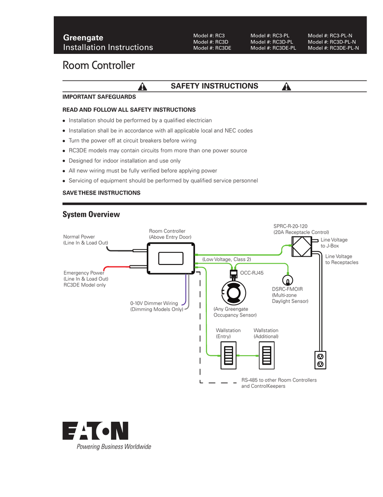 INS # Greengate Installation Instructions Occupancy Sensor V Wiring Diagram on