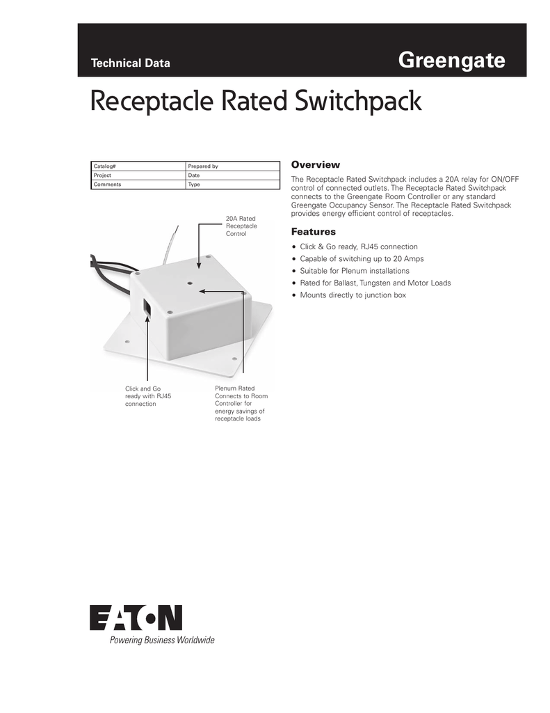 Receptacle Rated Switchpack Greengate Technical Data Overview Rj45 Wiring Diagram Doc