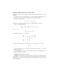 Implicit  Differentiation  and  Min/Max
