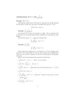 1 √ Antiderivatives  of  sec x  and