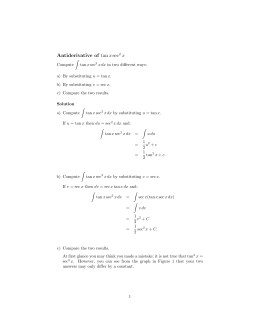Antiderivative  of  tan x sec x