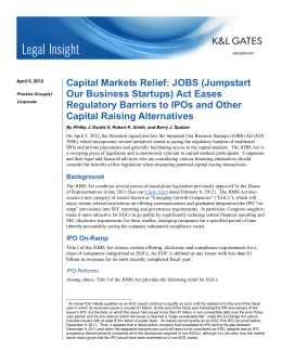 Capital Markets Relief: JOBS (Jumpstart Our Business Startups) Act Eases