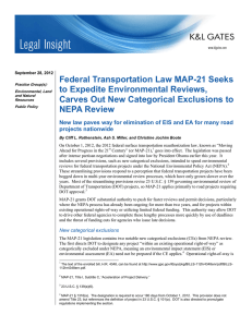 Federal Transportation Law MAP-21 Seeks to Expedite Environmental Reviews,