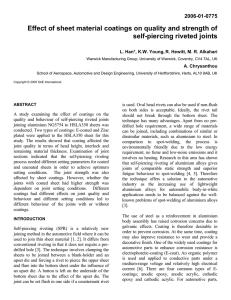 Effect of sheet material coatings on quality and strength of 2006-01-0775