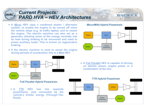 Current Projects: PARD HVA – HEV Architectures