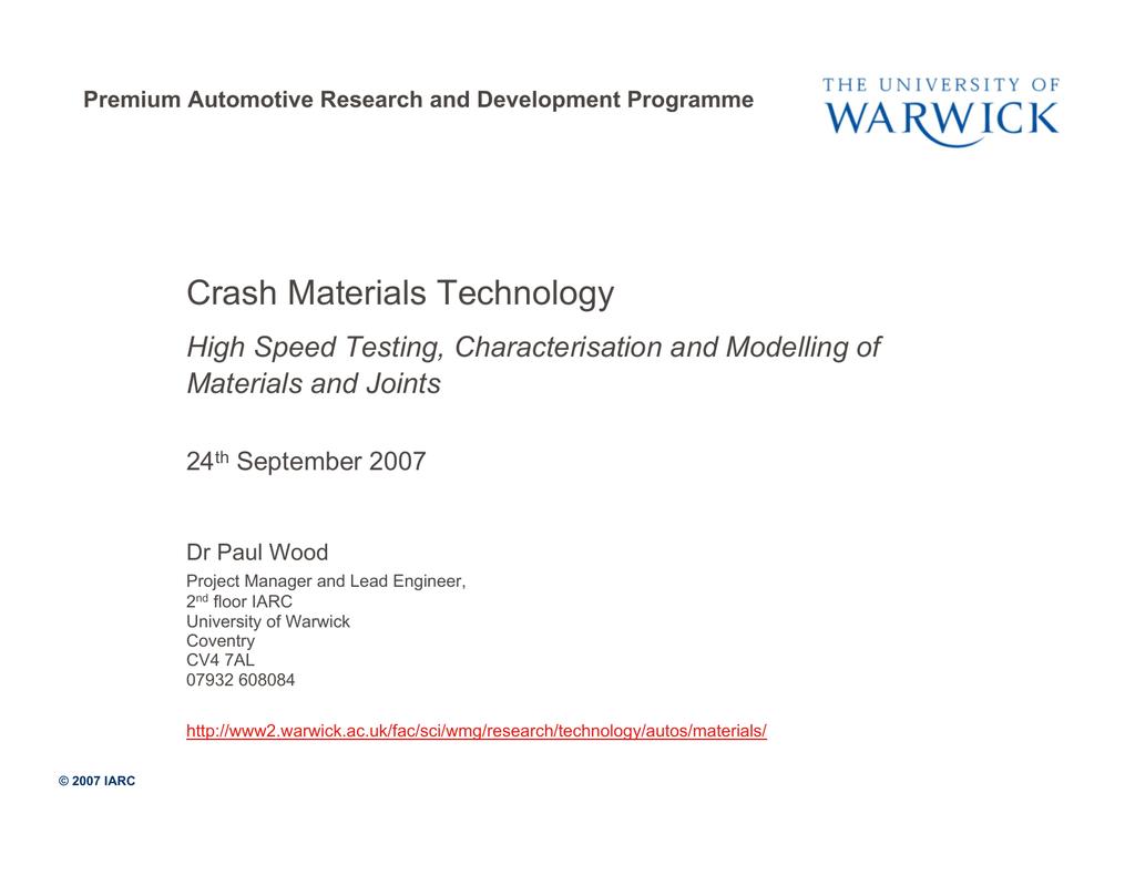 Crash Materials Technology High Speed Testing