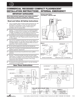 COMMERCIAL RECESSED COMPACT FLUORESCENT INSTALLATION INSTRUCTIONS - INTERNAL EMERGENCY IMPORTANT SAFEGUARDS