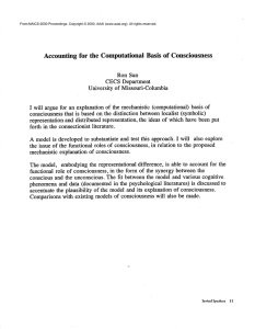 Accounting  for  the  Computational  Basis ... Ron Sun CECS Department University  of  Missouri-Columbia