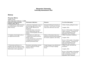 Marquette University Learning Assessment Plan  History