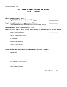 M.A. Concentration in Literature and Writing: Literary Traditions