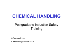 CHEMICAL HANDLING Postgraduate Induction Safety Training S Burrows P230
