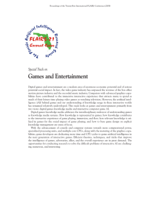 Games and Entertainment Special Track on
