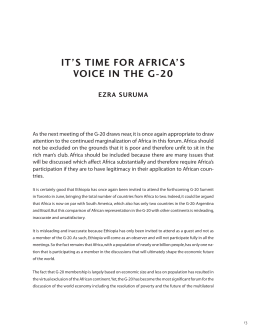 IT'S TIME FOR AFRICA'S VOICE IN THE G-20 EZRA SURUMA