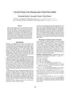 Towards Strong Cyclic Planning under Partial Observability Piergiorgio Bertoli , Alessandro Cimatti