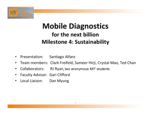 Mobile Diagnostics for the next billion Milestone 4: Sustainability