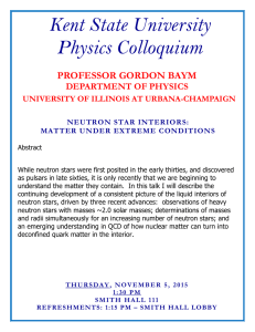 Kent State University Physics Colloquium  PROFESSOR GORDON BAYM