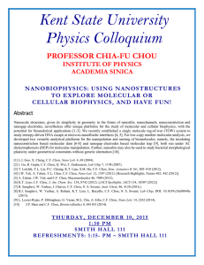 Kent State University Physics Colloquium  PROFESSOR CHIA-FU CHOU