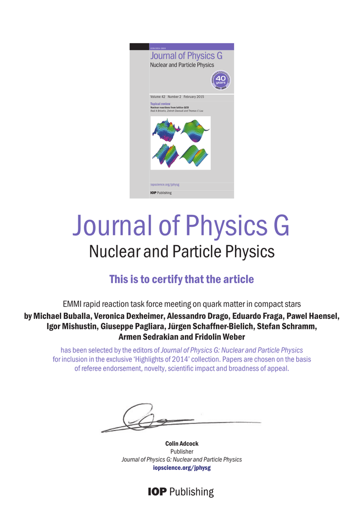 Journal of Physics G Nuclear and Particle Physics