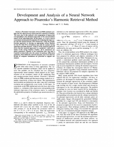 Development  and Analysis  of  a Neural ... Approach to Pisarenko's Harmonic Retrieval Method