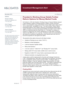 Investment Management Alert President's Working Group Details Further