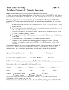 Kent State University        ... Database Connectivity Security Agreement