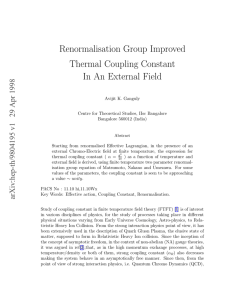 Renormalisation Group Improved Thermal Coupling Constant In An External Field