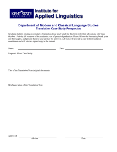 Department of Modern and Classical Language Studies Translation Case Study Prospectus