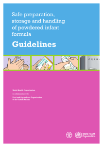 Guidelines Safe preparation, storage and handling of powdered infant