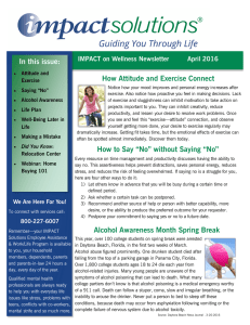 In this issue: How Attitude and Exercise Connect IMPACT on Wellness Newsletter