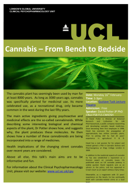 Cannabis – From Bench to Bedside