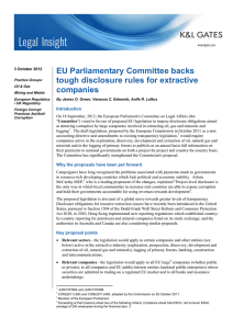 EU Parliamentary Committee backs tough disclosure rules for extractive companies
