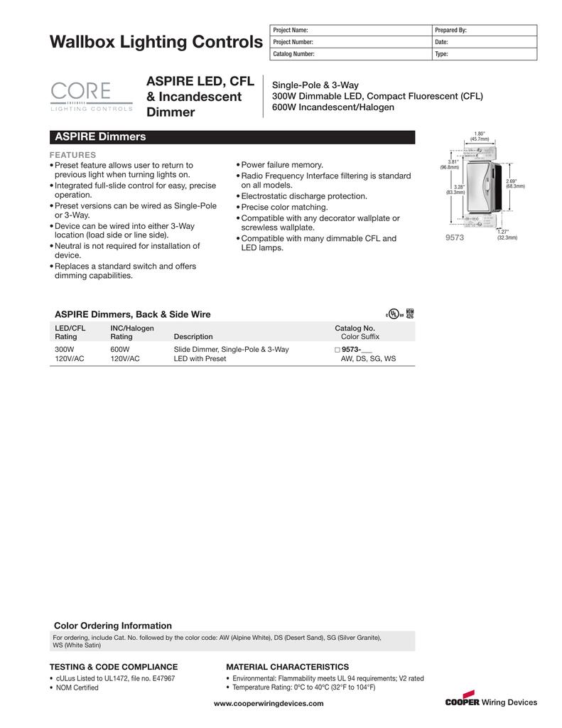 wallbox lighting controls aspire led, cfl \u0026amp; incandescent Mini Cooper Fuel Pump Wiring Diagram