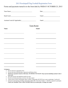 2015 Powderpuff Flag Football Registration Form Team Roster Team Name: