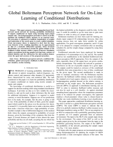 Global Boltzmann Perceptron Network for On-Line Learning of Conditional Distributions