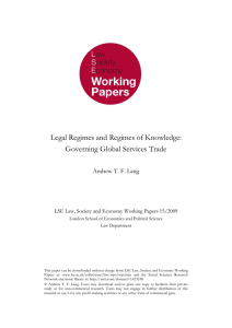 Legal Regimes and Regimes of Knowledge: Governing Global Services Trade
