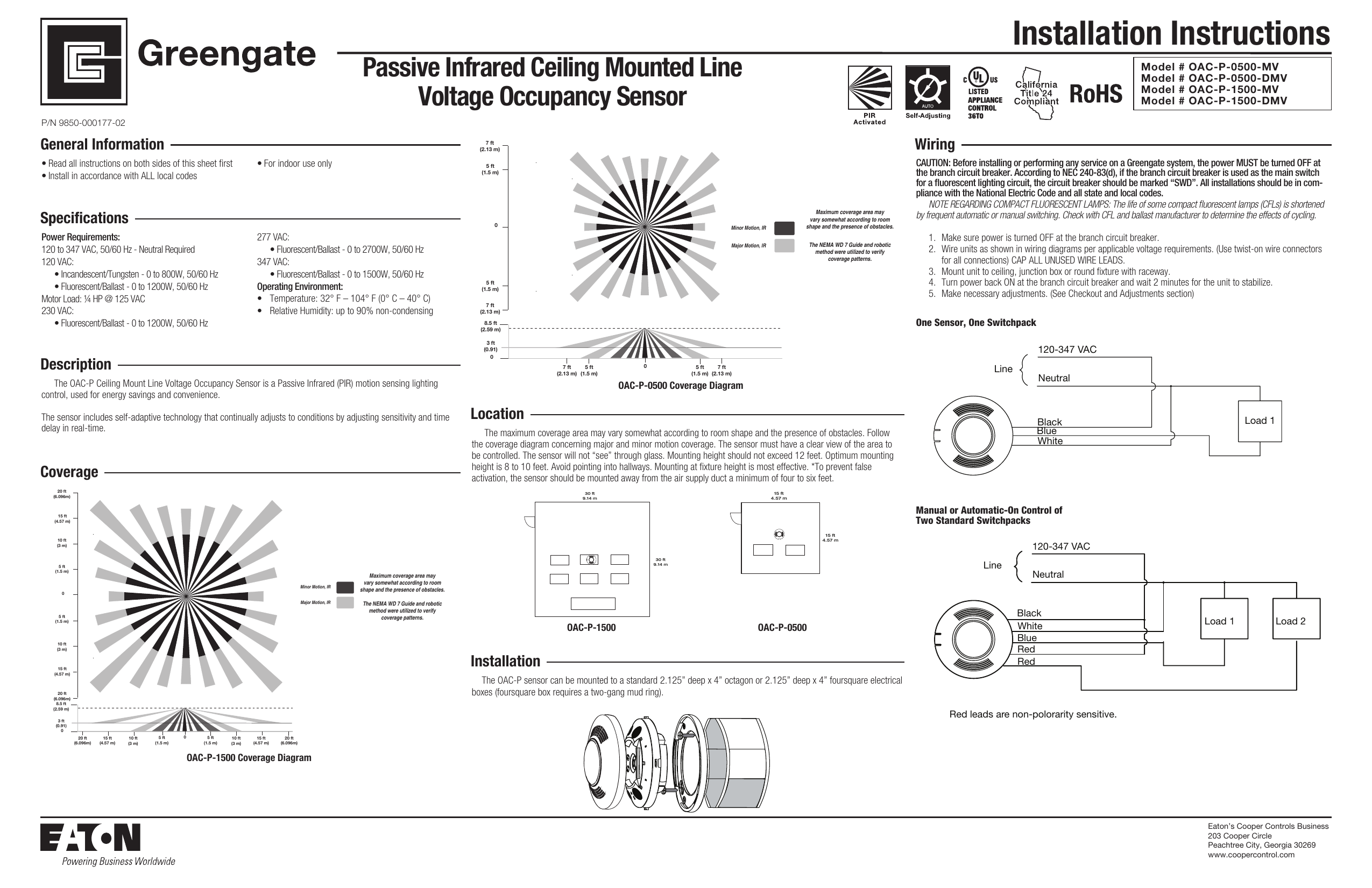 Installation Instructions Passive Infrared Ceiling Mounted Line Voltage  Occupancy Sensor Model # OAC-P-0500-MV