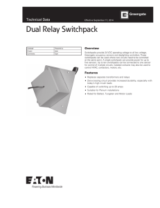 Dual Relay Switchpack Technical Data Overview