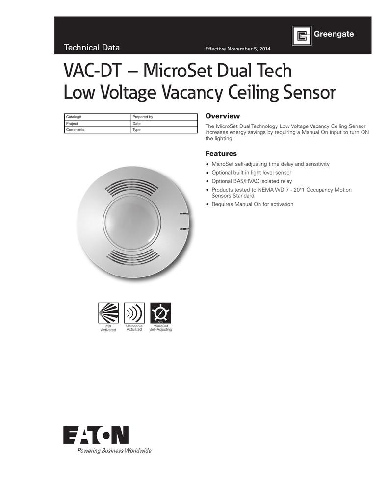 Cooper Controls OAC-P-0500-MV MicroSet Ceiling Sensor with Daylight Sensor