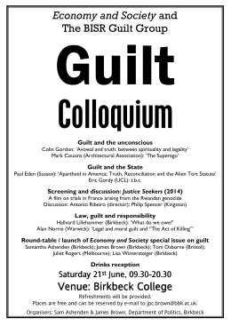 Guilt Colloquium  Economy and Society and