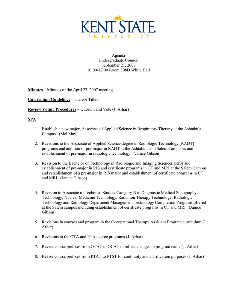 Agenda Undergraduate Council September 21 2007