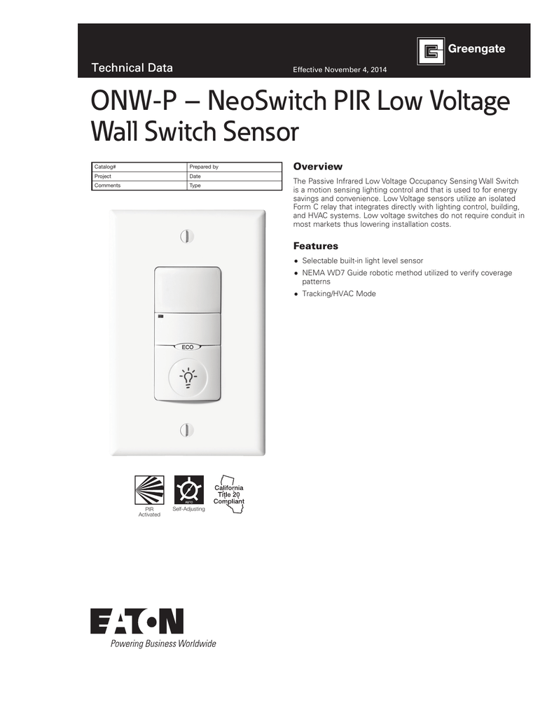 Onw P Neoswitch Pir Low Voltage Wall Switch Sensor Technical Data Motion Light Wiring Diagram Small Overview