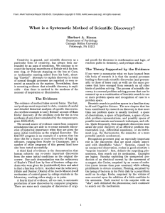 What is  a  Systematic Method  of  Scientific Discovery?