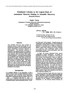 Entailment  Calculus  as  the  Logical ... Automated  Theorem Finding  in  Scientific Discovery