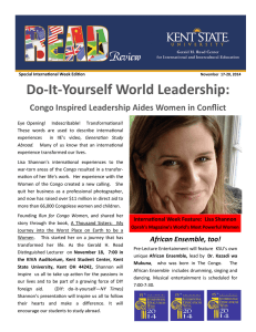 Do-It-Yourself World Leadership:  Congo Inspired Leadership Aides Women in Conflict