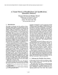 A Causal  Theory  of  Ramifications and  Qualifications